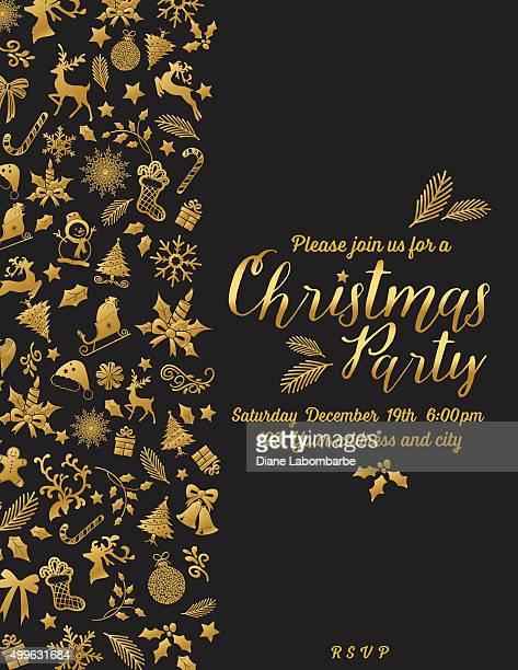 レトロ風ゴールドブラックのクリスマスパーティの招待状テンプレート
