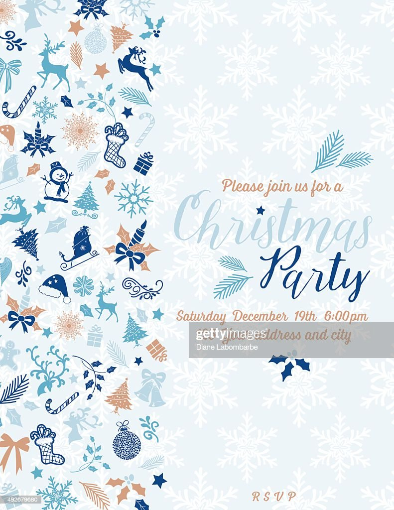 retro inspired pastel christmas party invitation template vector art