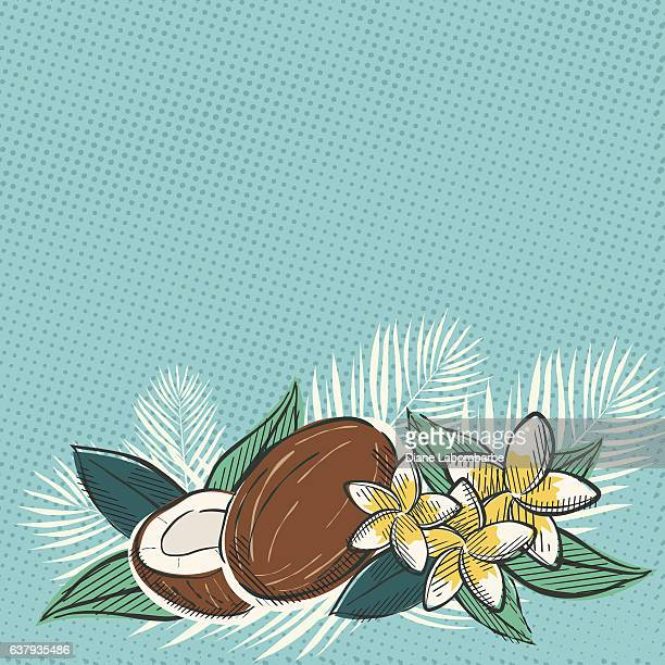 ilustrações, clipart, desenhos animados e ícones de retro inspired tropical luau flowers and leaves - cocos plant