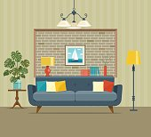 Retro interior living room with  monstera. Vector flat illustration