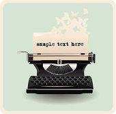 retro invitation card with typewriter