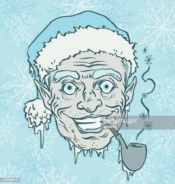 retro jack frost, the seasonal creep - pipe smoking pipe stock illustrations, clip art, cartoons, & icons