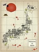 retro Japan travel map