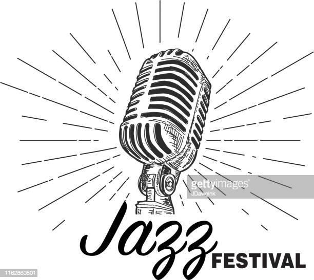retro jazz festival design vorlage mit vintage-mikrofon - mikrofon stock-grafiken, -clipart, -cartoons und -symbole