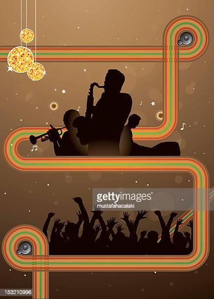 retro jazz party - jazz stock illustrations, clip art, cartoons, & icons