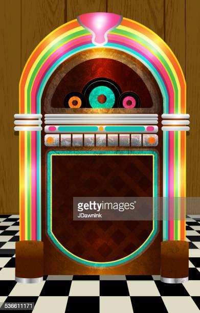 retro jukebox on checkered tile background no text - music box stock illustrations