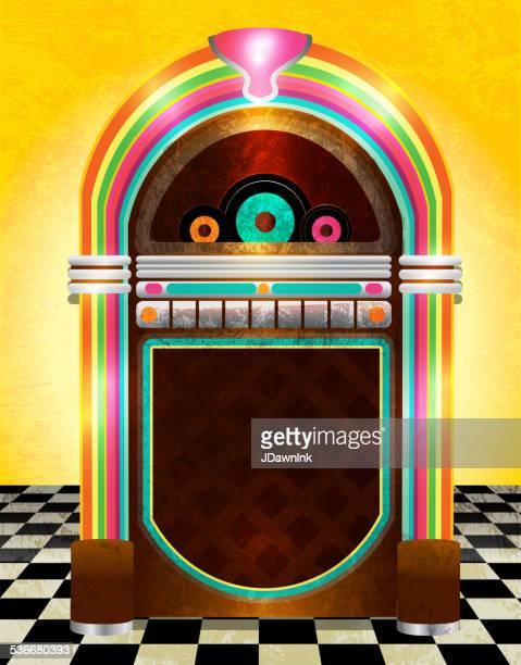 retro jukebox on checkered tile background - music box stock illustrations