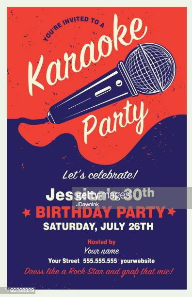 retro karaoke party poster design template with microphone - karaoke stock illustrations