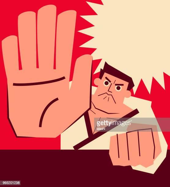 ilustrações de stock, clip art, desenhos animados e ícones de retro karate coach punching with big palm of hand (showing stop gesture with five fingers) - judo