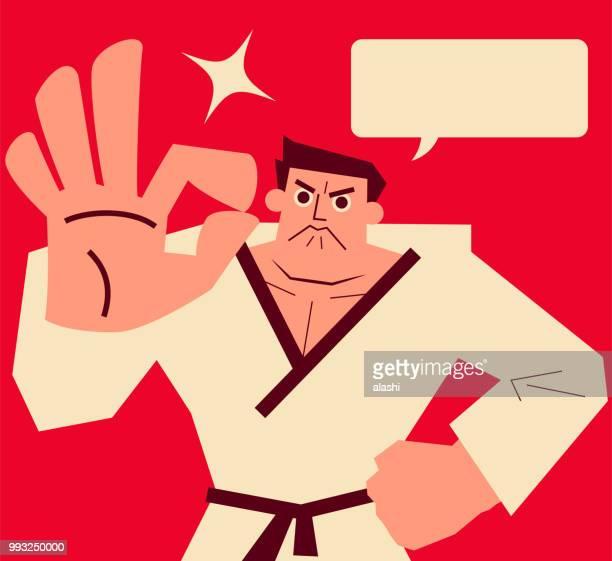 ilustrações de stock, clip art, desenhos animados e ícones de retro karate coach showing ok hand sign or counting number 9 or 3 or zero - atitude