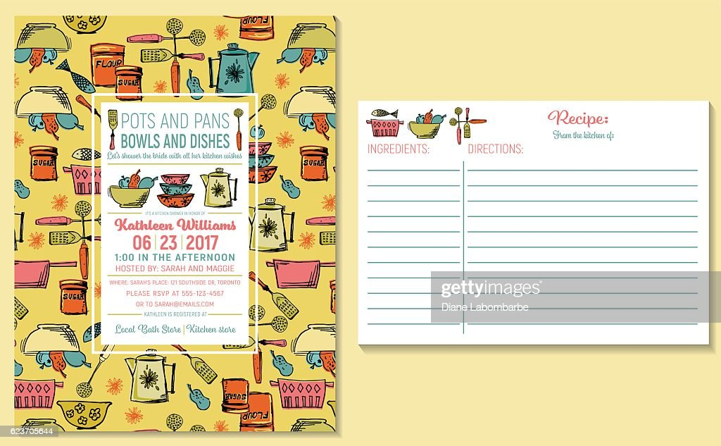 retro kitchen bridal shower invitation and recipe card template vector art