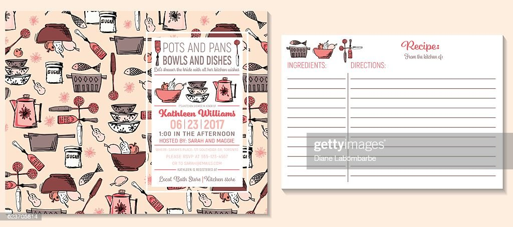 Retro kitchen bridal shower invitation and recipe card template retro kitchen bridal shower invitation and recipe card template vector art filmwisefo