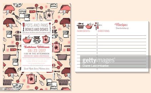 Retro Kitchen Bridal Shower Invitation And Recipe Card Template