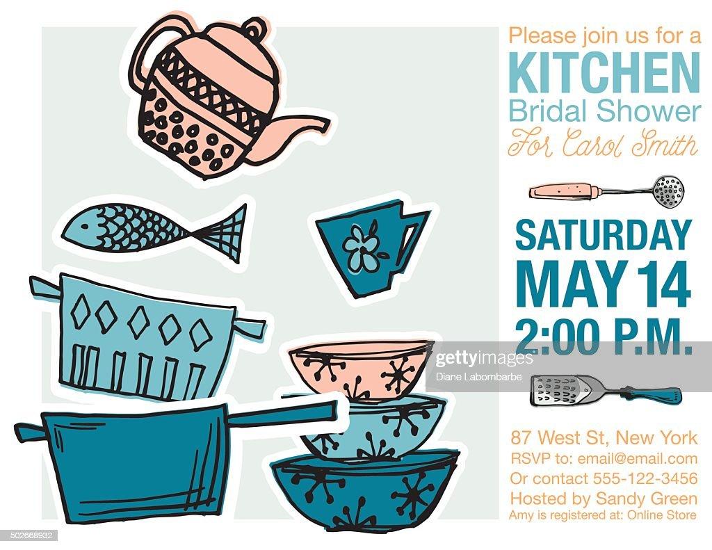 Retro Kitchen Bridal Shower Invitation Template Vector Art | Getty ...