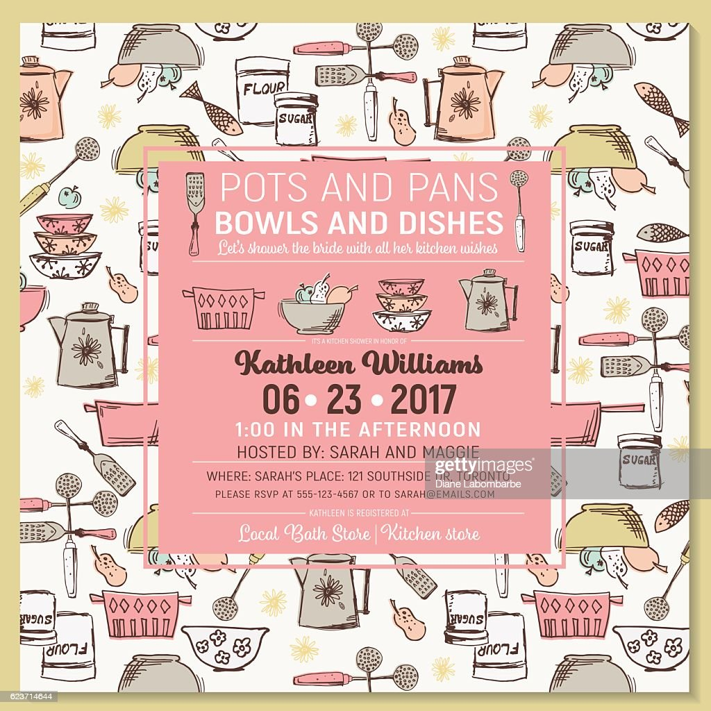 retro kitchen bridal shower invitation template vector art