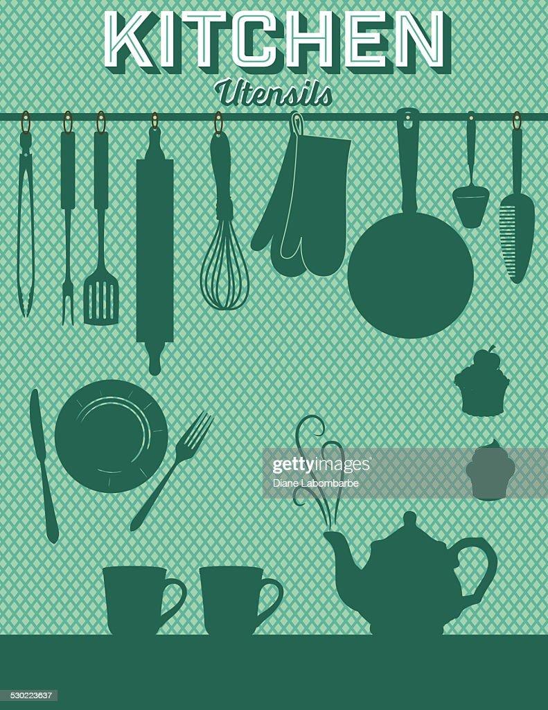 Retro Kitchen Gadgets Background Green : Vector Art