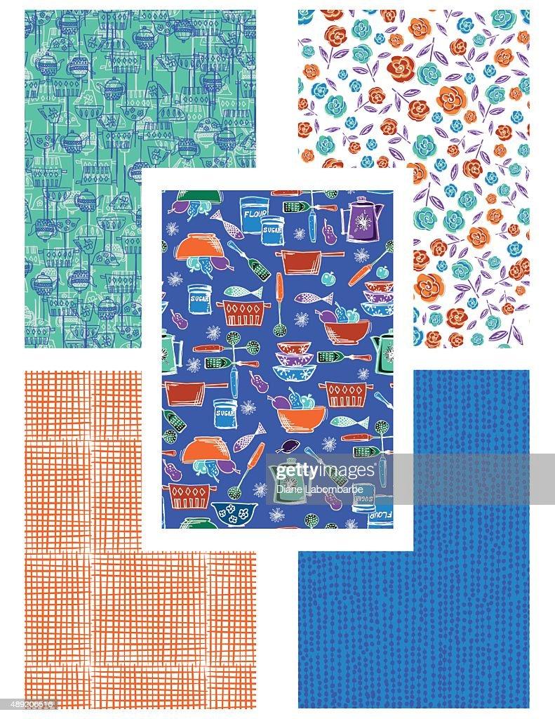 Retro kitschy Kitchen Seamless Pattern Set