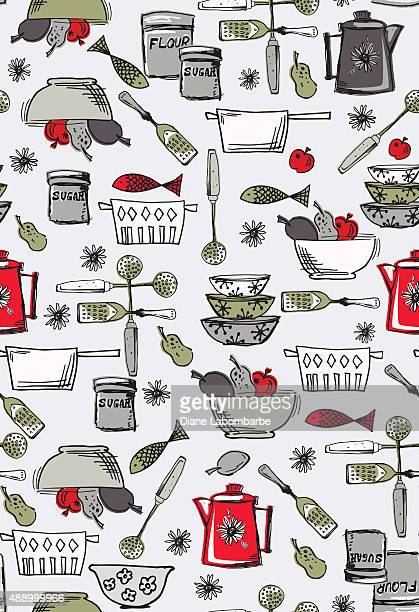retro kitschy kitchen seamless pattern - kitchenware department stock illustrations, clip art, cartoons, & icons