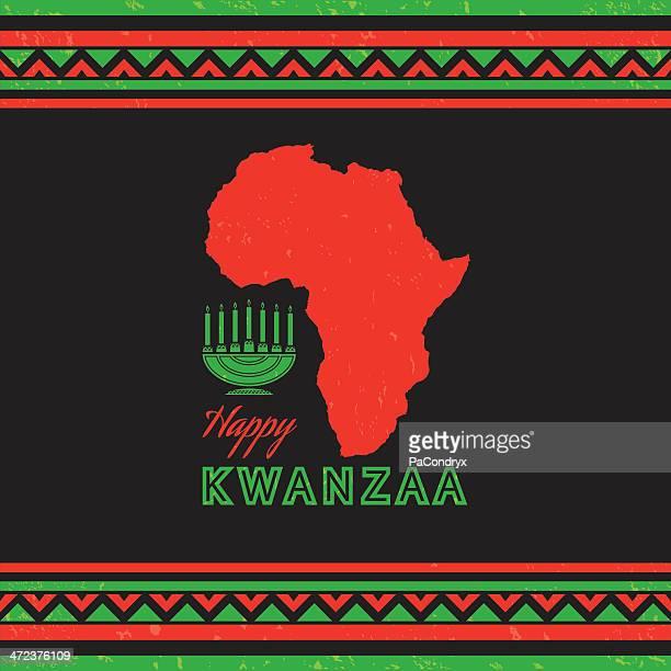 retro kwanzaa celebration card - kwanzaa stock illustrations, clip art, cartoons, & icons