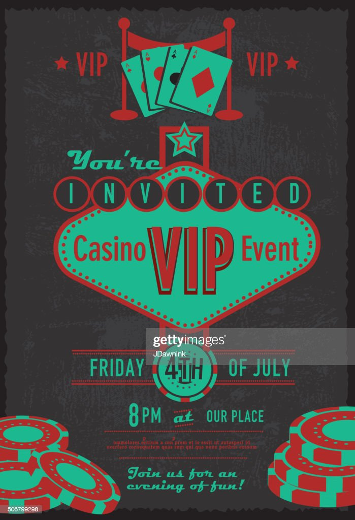 Retro Las Vegas Sign Vip Casino Invitation Design Template Vector ...