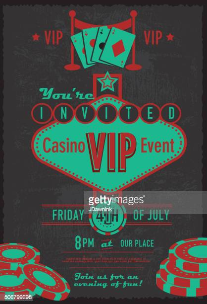 Retro Las Vegas sign VIP Casino invitation design template