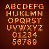 Retro light bulb bright alphabet, vector font