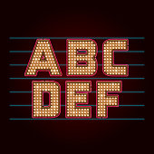 Retro Light Bulb Font. Vector alphabet from A to F