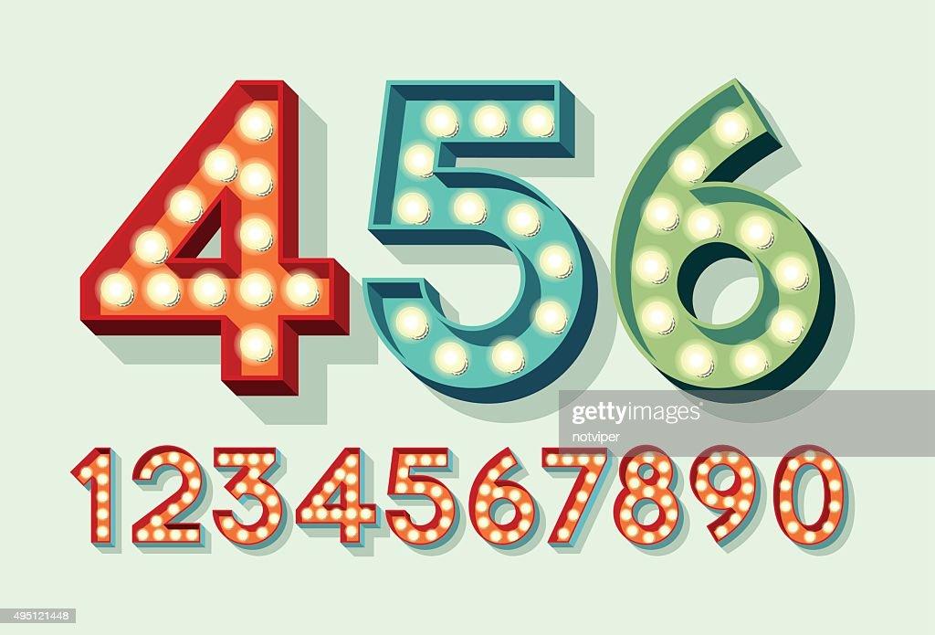 Retro Light Bulb Numbers