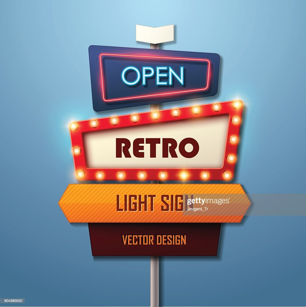 Retro light sign. Vintage style banner.