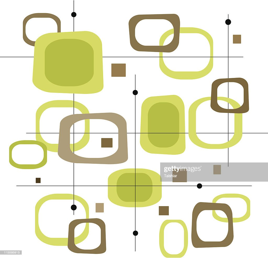 Retro Lime Green and Brown Squares (Vector)