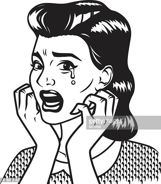 Retro Line Art Illustration of a Crying Woman