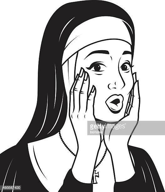 Retro Line Art Illustration of a Surprised Nun
