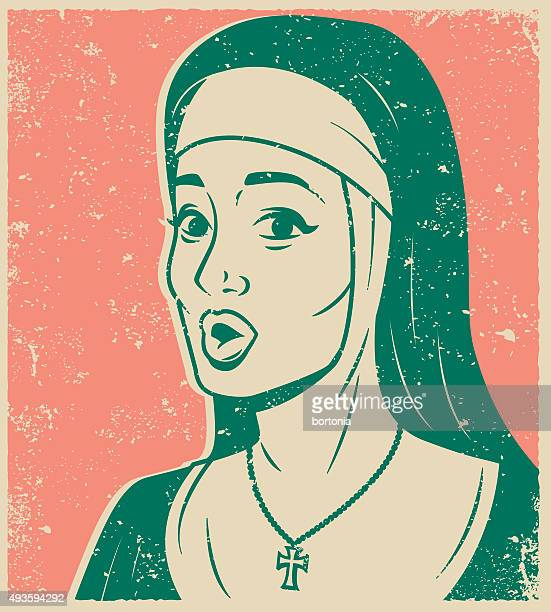 retro line art illustration of a surprised nun - religious dress stock illustrations, clip art, cartoons, & icons