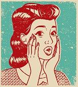 Retro Line Art Illustration of a Surprised Woman