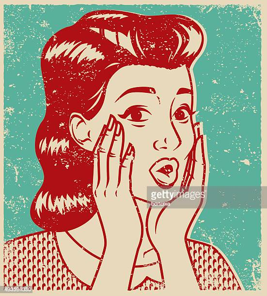 Retro Line Art Illustration of a Surprised Woman