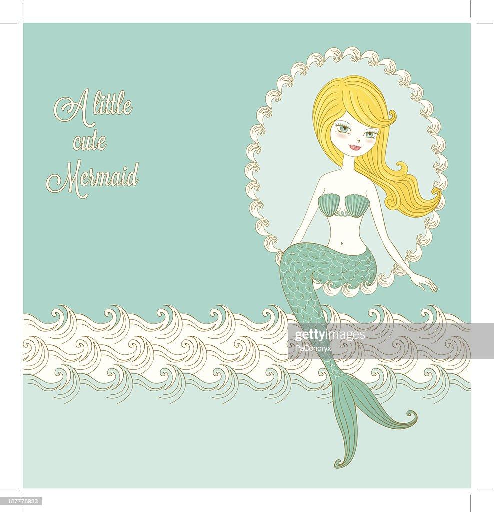 Retro Little Mermaid : stock illustration