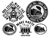 retro locomotive, wagon, vintage train, logotype, illustration to topic railroad