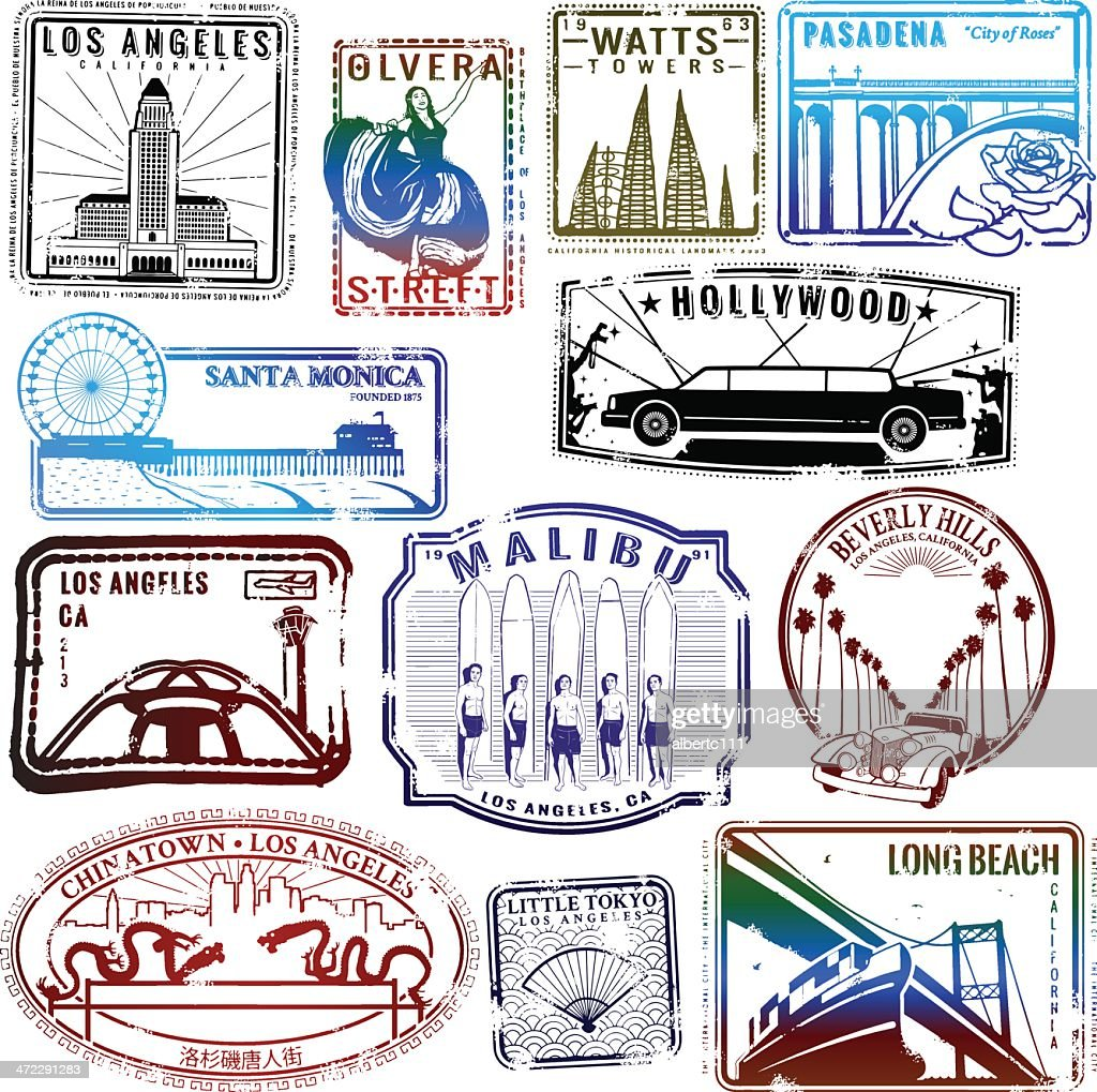 Retro Los Angeles stamp collection : stock illustration