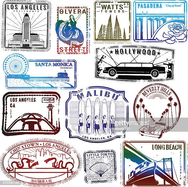 Retro Los Angeles stamp collection