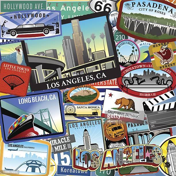 retro los angeles travel location collage - long beach california stock illustrations, clip art, cartoons, & icons