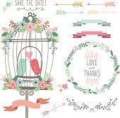 Retro Love Birdcage and Wedding Flowers- Illustration