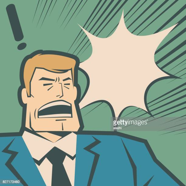 Retro macho businessman (man, police force) screaming and shouting
