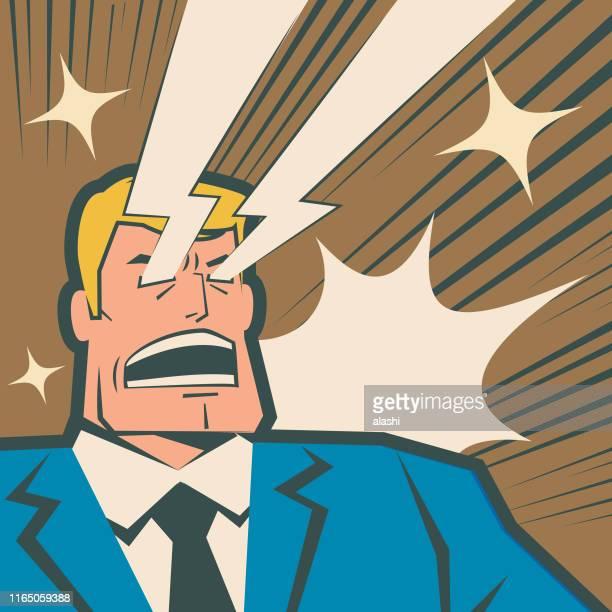 レトロなマッチョビジネスマンが彼の目からレーザービームを叫び、撮影 - 驚き点のイラスト素材/クリップアート素材/マンガ素材/アイコン素材