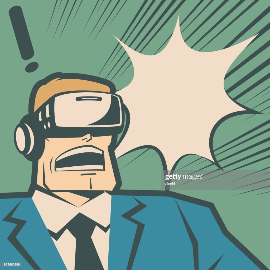 Retro macho businessman (man) wearing Virtual reality glasses (VR interface), surprised with screaming and shouting : stock illustration