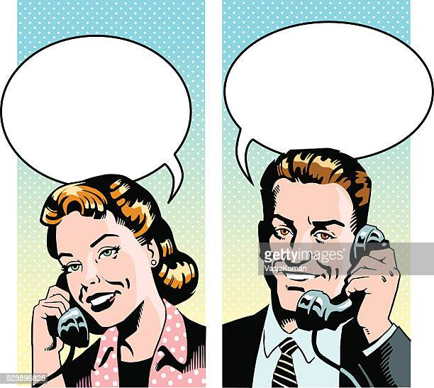retro man and woman talking on the phone - teasing stock illustrations, clip art, cartoons, & icons