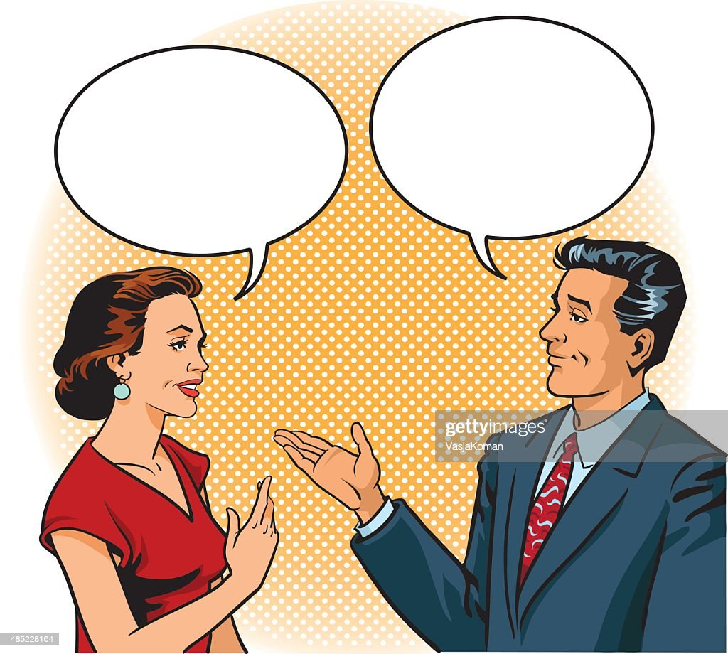 Retro Man and Woman Talking With Speech Balloons