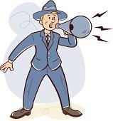 Retro man shouts through megaphone