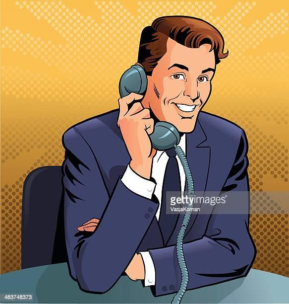 Retro Man Talking on the Phone
