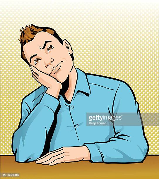 Retro Man Thinking and Daydreaming