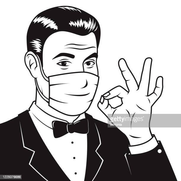 retro man wearing mask - men fashion stock illustrations
